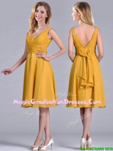 Latest Empire V Neck Ruched Gold Graduation Dress in Chiffon