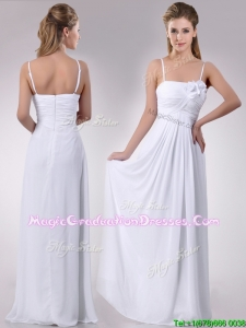 Latest Handcrafted Flower White Graduation Dress with Spaghetti Straps