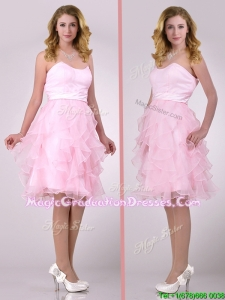Lovely Empire Baby Pink Knee Length Graduation Dress with Ruffles