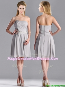 Lovely Empire Strapless Chiffon Grey Graduation Dress with Hand Made Flower