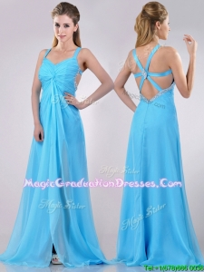 Luxurious Straps Criss Cross Beaded Long Graduation Dress in Baby Blue