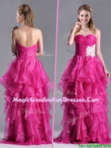 Modern Brush Train Fuchsia Graduation Dress with Appliques and Ruffles