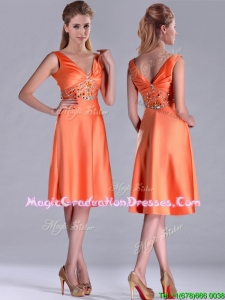 New Arrivals V Neck Beaded Short Graduation Dress in Orange Red