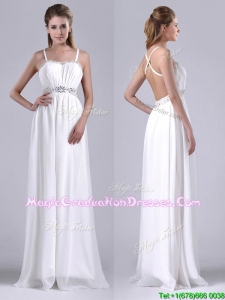 New Style Beaded Top and Waist White Graduation Dress with Criss Cross