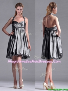 New Style Halter Top Taffeta Silver Graduation Dress with Backless