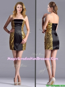 Popular Column Black and Gold Graduation Dress in Sequins and Satin