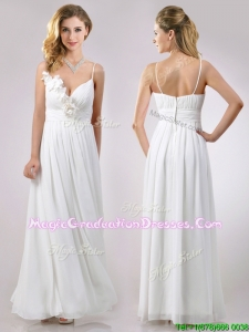 Popular Spaghetti Straps Applique and Ruched Graduation Dress in White