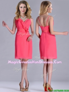 Popular V Neck Zipper Up Short Graduation Dress in Coral Red