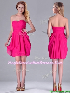 Simple Empire Sweetheart Chiffon Hot Pink Short Graduation Dress for Homecoming