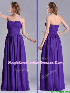 Beautiful Empire Ruched Chiffon Long Graduation Dress in Purple