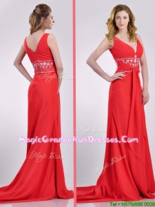 Beautiful V Neck Brush Train Chiffon Beaded Graduation Dress in Coral Red
