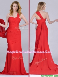 Column One Shoulder Watteau Train Coral Red Graduation Dress with Side Zipper