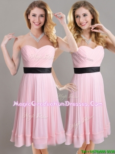 Discount Empire Pleated and Black Belted Graduation Dress in Baby Pink