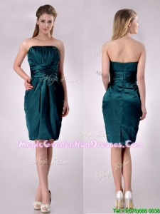 Exclusive Column Ruched Decorated Bodice Graduation Dress in Hunter Green