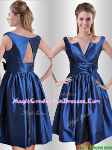 Exquisite Open Back Hand Crafted Flower Graduation Dress in Royal Blue