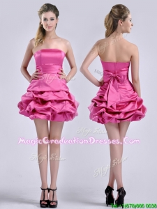 Latest A Line Bubble and Bowknot Taffeta Graduation Dress in Hot Pink