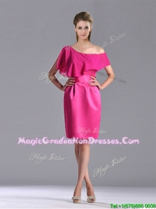 Latest Column One Shoulder Hot Pink Graduation Dress with Zipper Up