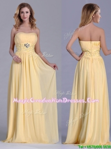 Lovely Empire Yellow Long Graduation Dress with Beading and Ruching