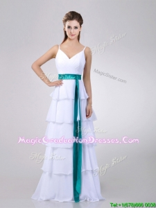 Lovely White Graduation Dress with Ruffled Layers and Turquoise Belt