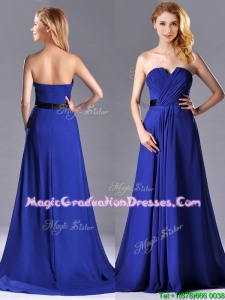Luxurious Empire Chiffon Royal Blue Graduation Dress with Brush Train