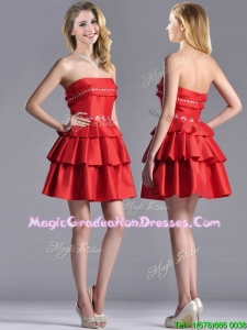 New Arrivals Red Strapless Graduation Dress with Ruffled Layers and Beading
