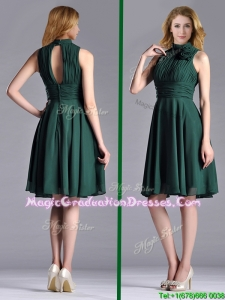 New High Neck Handmade Flower Dark Green Graduation Dress with Open Back