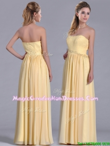New Style Yellow Empire Long Graduation Dress with Beaded Bodice