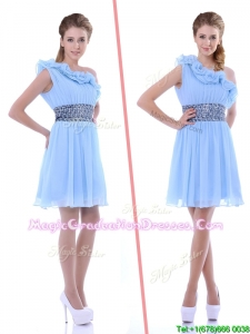 One Shoulder Light Blue Graduation Dress with Beaded Decorated Waist and Ruffles