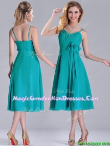 Spaghetti Straps Ruched and Belted Turquoise Graduation Dress in Tea Length