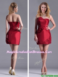 Best Selling Column Wine Red Graduation Dress with Asymmetrical Neckline