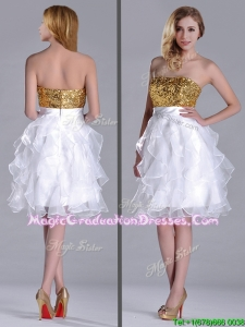 Classical Organza Sequined and Ruffled Graduation Dress in White and Gold