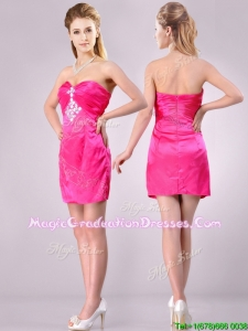 Discount Applique with Beading and Rhinestoned Graduation Dress in Hot Pink