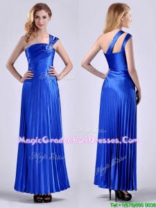 Discount Royal Blue Ankle Length Graduation Dress with Beading and Pleats