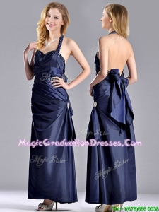 Luxurious Beaded Decorated Halter Top Graduation Dress in Navy Blue