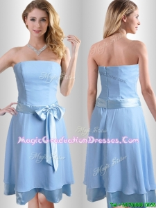 New Style Bowknot Chiffon Short Graduation Dress in Light Blue