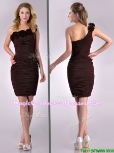 Pretty Column One Shoulder Hand Crafted and Ruched Side Zipper Short Graduation Dress in Brown