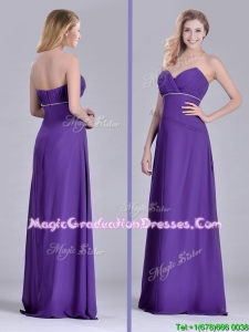 Pretty Column Sweetheart Ruching Purple Graduation Dress for Celebrity