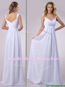 Pretty Empire Beaded White Chiffon Graduation Dress with Straps