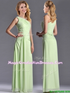 Pretty One Shoulder Side Zipper Yellow Green Graduation Dress with Ruching