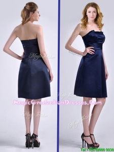 Pretty Strapless Zipper Up Ruched Graduation Dress in Navy Blue