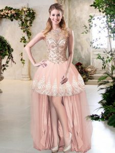 Tulle Sleeveless High Low Graduation Dresses and Beading and Lace and Appliques