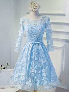 Nice Long Sleeves Mini Length Beading and Appliques Lace Up Graduation Dresses with Light Blue