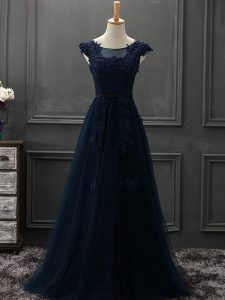 Tulle Scoop Sleeveless Lace Up Appliques Graduation Dresses in Navy Blue