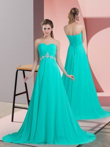 Custom Fit Chiffon Sweetheart Sleeveless Brush Train Lace Up Beading Graduation Dresses in Turquoise
