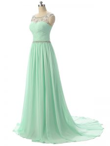 Fancy Apple Green Graduation Dresses Chiffon Brush Train Sleeveless Beading and Ruching