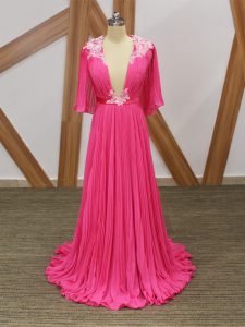 Hot Pink Half Sleeves Chiffon Sweep Train Backless Graduation Dresses for Prom and Party and Beach