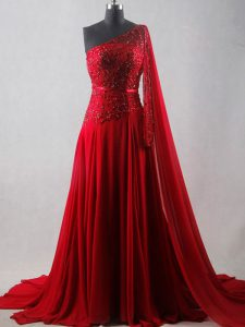 Chiffon One Shoulder Sleeveless Court Train Zipper Beading and Belt Graduation Dresses in Wine Red