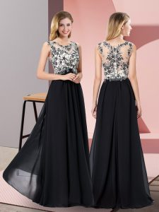 Eye-catching Appliques Graduation Dresses Black Zipper Sleeveless Floor Length