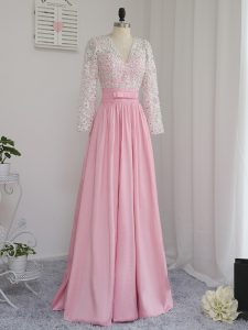 Excellent Floor Length Baby Pink Graduation Dresses Chiffon Long Sleeves Beading