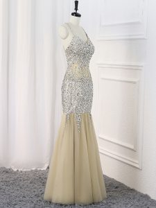 Lovely Champagne Sleeveless Tulle Criss Cross Graduation Dresses for Prom and Military Ball